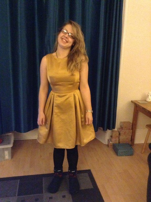 1950's inspired gold satin dress.
