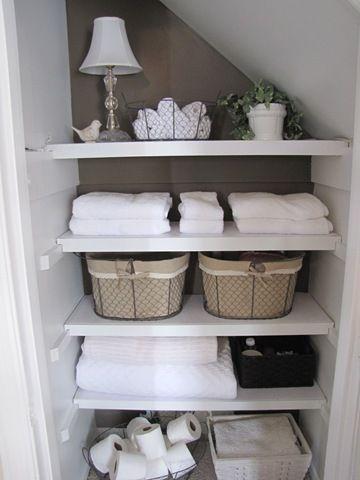 Bathroom shelves or linen closet