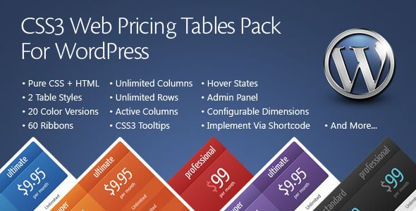 CSS3 Responsive Web Pricing Tables Grids For WordPress is a pack of pure CSS3 Web Pricing Tables with 2 table styles and 20 predefined color versions that comes loaded with tons of options like extensive admin panel with live configuration, responsive mode configurator, plenty of options for table, columns, rows and table cells, sliding columns feature, expandable rows feature, active (popped-up) columns, hover states, table cell tooltips, columns ribbons, tick / cross icons and a lot of…