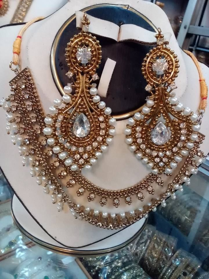 Pakistani Indian Bollywood Polki Pearl Kundan Diamantes CZ Necklace Earrings Set #HandmadeIsharyaRitaniAmritaSinghBeesZaveri