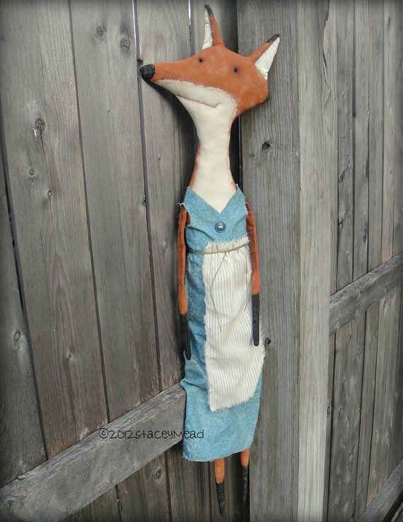Jackie A Primitive Folk Art Fox Pattern from by thegoodewife, $9.00