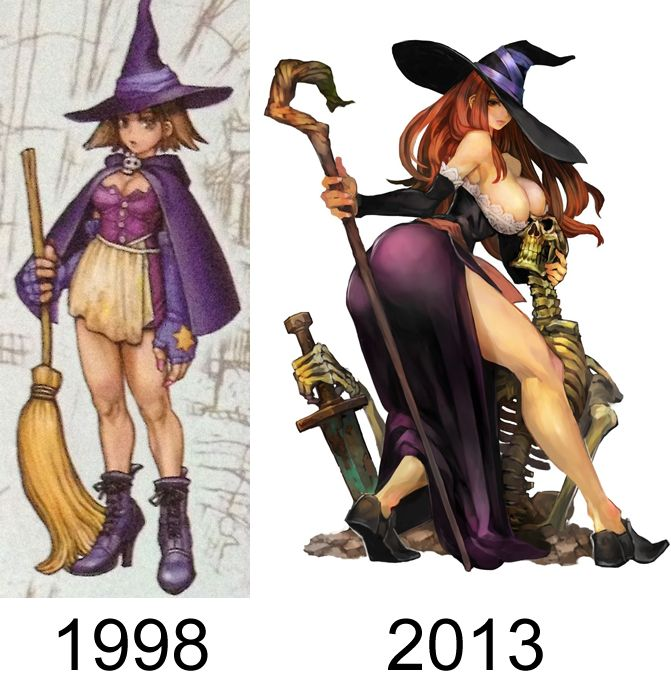 Comparison of Dragon's Crown concept art from 1998 and its final result.