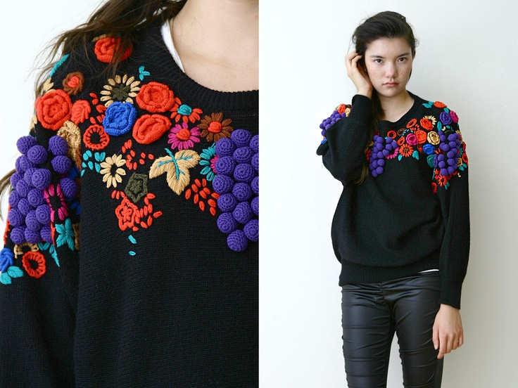 Unused Deadstock Vintage 80s Sweater Knit Lambswool Angora Black Colorful 3D Knitted Fruits Floral Funky Kitschy Vivien Forest ONE SIZE. $57,00, via Etsy.