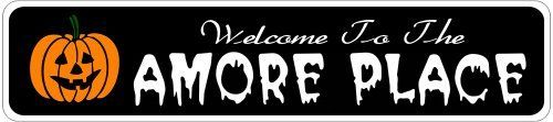AMORE PLACE Lastname Halloween Sign - Welcome to Scary Decor, Autumn, Aluminum - 4 x 18 Inches by The Lizton Sign Shop. $12.99. Rounded Corners. Great Gift Idea. Aluminum Brand New Sign. Predrillied for Hanging. 4 x 18 Inches. AMORE PLACE Lastname Halloween Sign - Welcome to Scary Decor, Autumn, Aluminum 4 x 18 Inches - Aluminum personalized brand new sign for your Autumn and Halloween Decor. Made of aluminum and high quality lettering and graphics. Made to la...