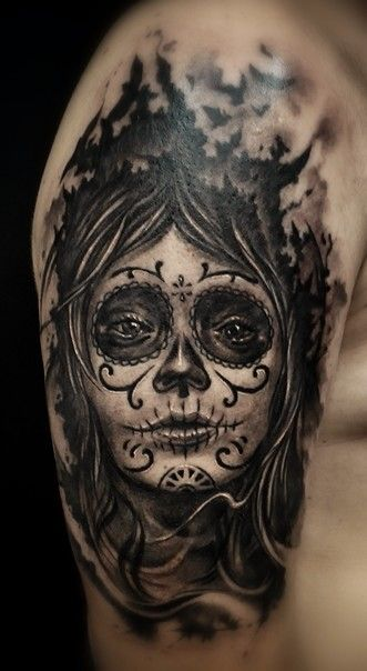 112 best images about muerte tattoos on pinterest sugar skull tattoos santa muerte and day of - Santa muerte signification ...