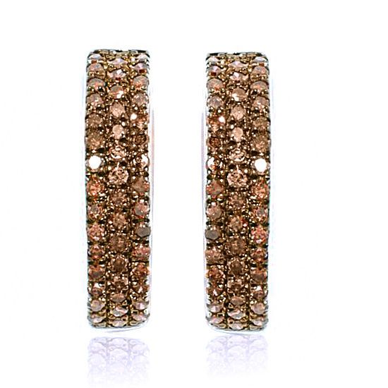 0.5ct Brown Diamond Hugger Hoop Earrings 10K Solid White Gold #gemdepot #Hoop #BlackFridaysDeals