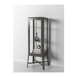 FABRIKÖR Glass-door cabinet - dark gray - IKEA - this would be great for Patrick's camera collection