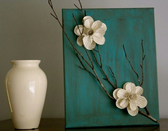 Easy decortive DIY art. Paint canvas, paper flowers from a book and some twigs ;) I LOOOOOVE TWIGS