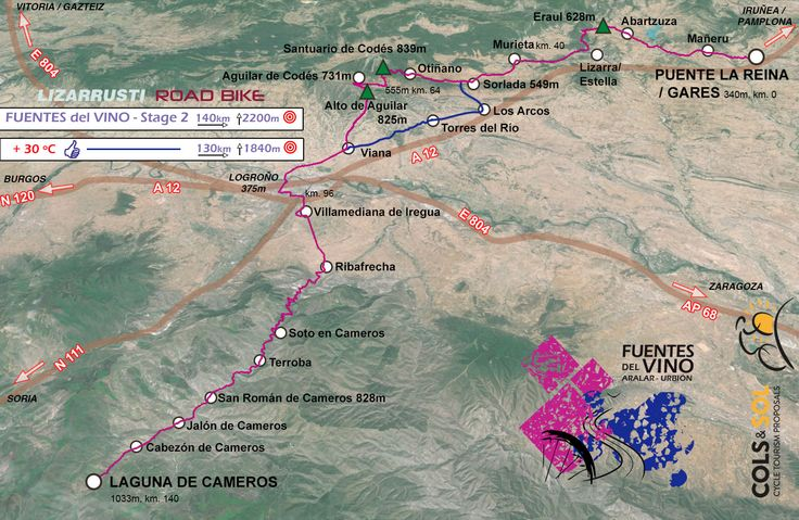 FUENTES del VINO stage 2, map of the route