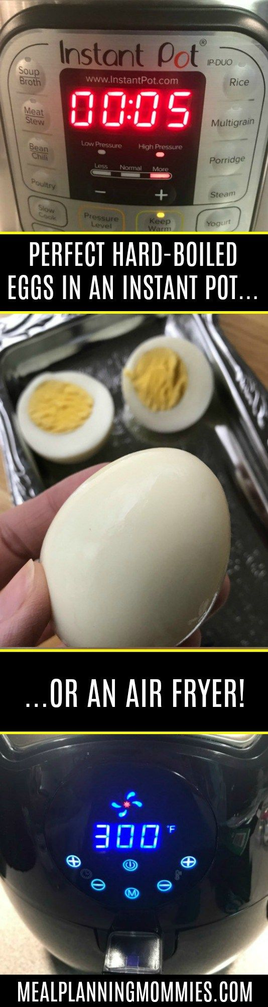 Instructions for how to hard-boil eggs in an instant pot and an air fryer. In 15 minutes you can cook perfect hard-boiled eggs that are super easy to peel.