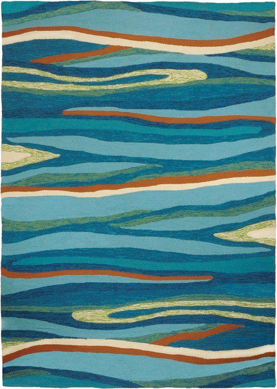 Ocean Waves Handmade Blue Indoor Outdoor Area Rug Coastal Area