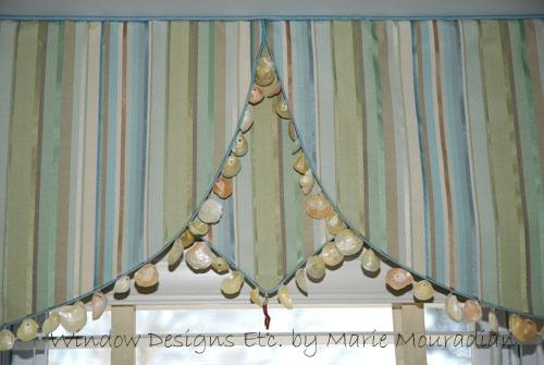 Window valance with shells beachy