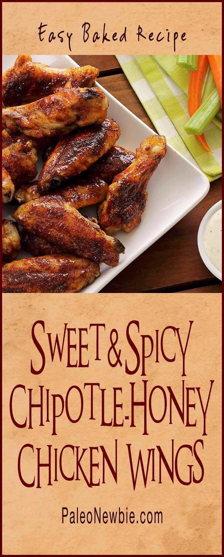 Easy, healthy, homemade buffalo-style chicken wings…my special chipotle seasoning mix – and honey – make these succulent wings so good! No frying – just baked!  #glutenfree #chickenwings