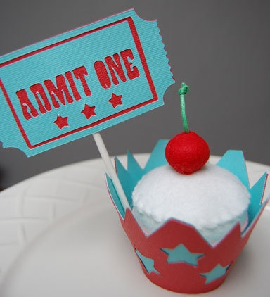 Admit One Cupcake Toppers and Carnival Cupcake by GiggleBees, $16.00