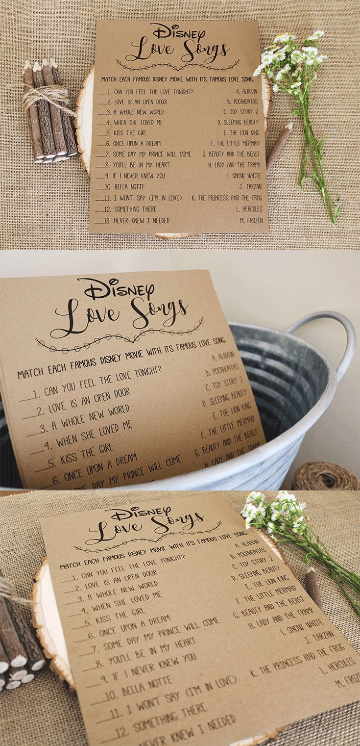 recipe themed bridal shower invitation wording%0A Disney Love Songs Bridal Shower Game   Printable Instant Download   Rustic   Kraft  Funny