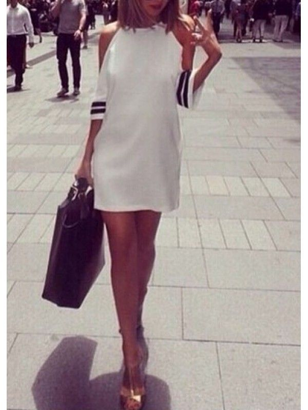 Modern Dresses: Round Neck Off the Shoulder Shift Dress