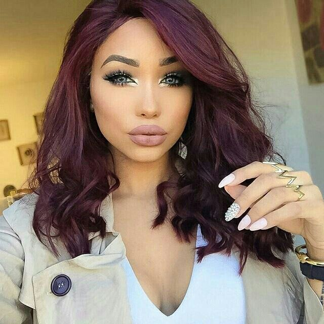 Short Burgundy Hair P.s. This Girls Makeup Is So On Point