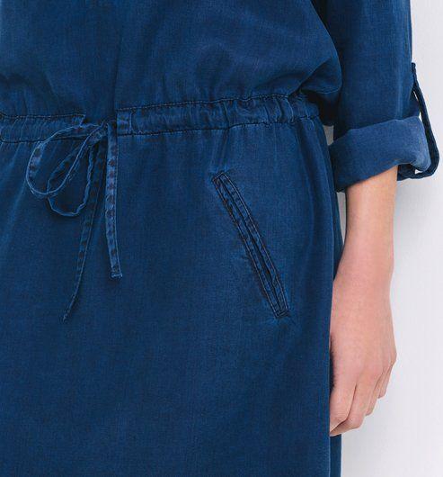 Robe en denim fluide Femme jean rinse - Promod