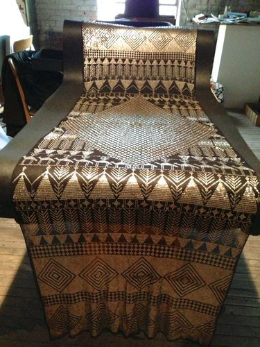 Vintage 1920s Egyptian Theme Assuit Metal Fabric Art Deco Scarf --- Exquisite