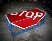 stop sign tableGame Rooms, Side Tables, Games Room, Stop Signs Tables, Signs Benches, Awesome Benches, Repurposing