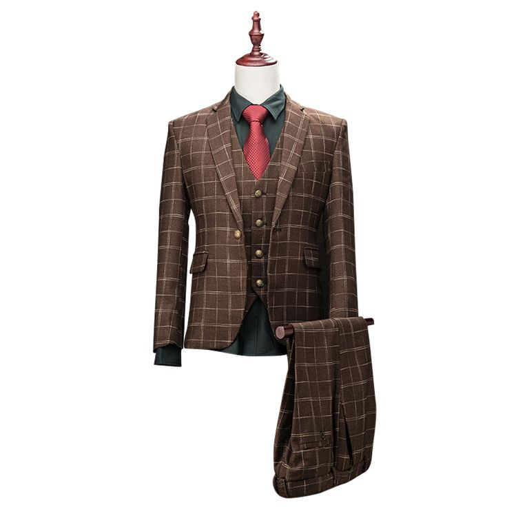 ==> [Free Shipping] Buy Best 2017 Brand Clothing Luxurious Formal Businessmen Suit Sets Plaid Terno Slim Fit For Men Wedding Groom Mens Suits Set Europe Size Online with LOWEST Price | 32731591394
