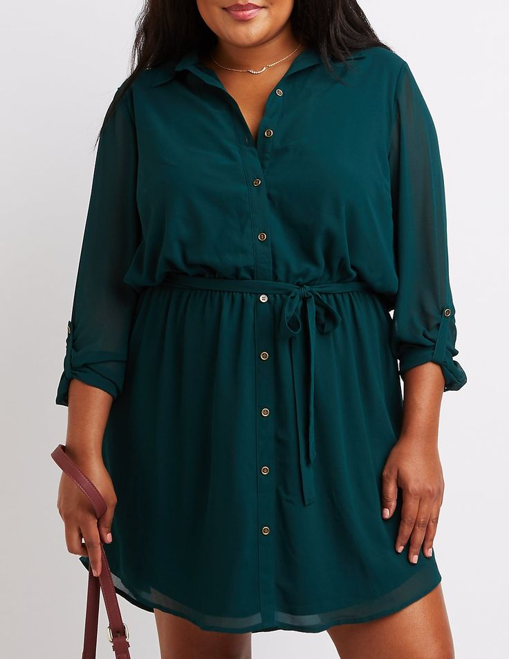 Plus Size Button-Up Shirt Dress   Charlotte Russe
