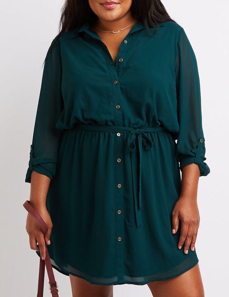 Plus Size Button-Up Shirt Dress | Charlotte Russe
