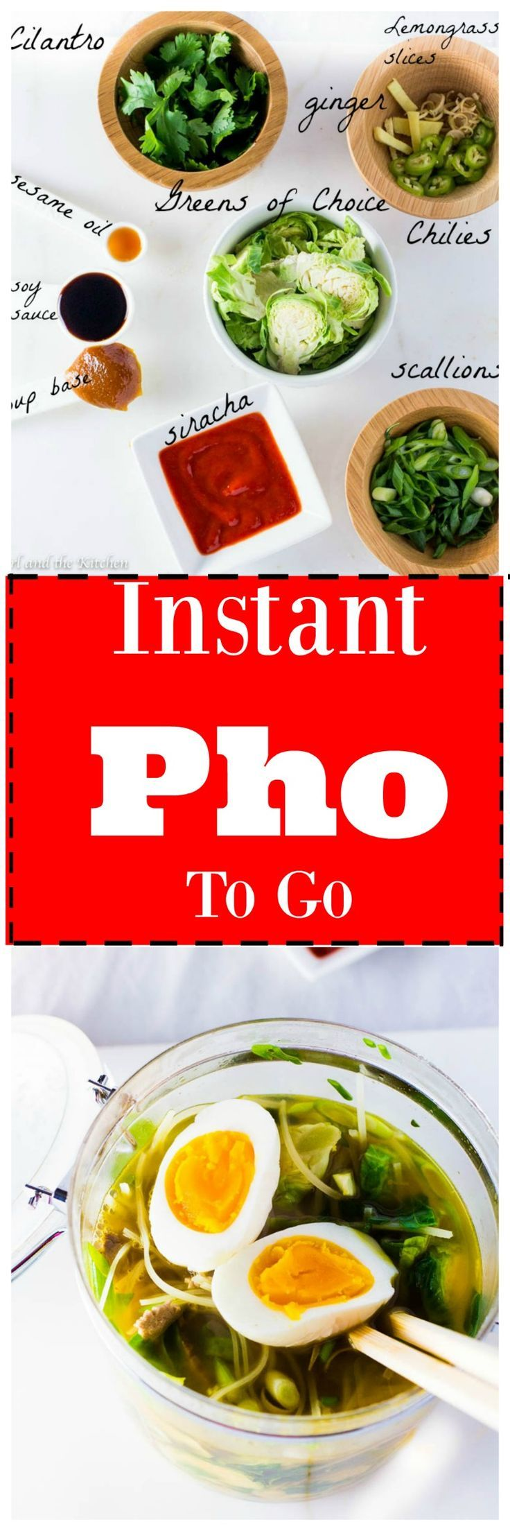 Lunch is never a bore or a hassle with my incredible and simple Instant Pho to Go!  The ingredients are never boring, always delicious and never-ending!  Create vegetarian, vegan and meat lover options with my super simple formula!!!