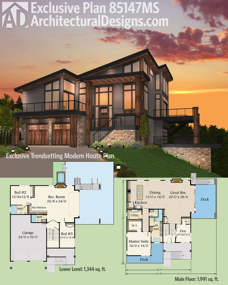 Architectural Designs Exclusive Modern House Plan 85147MS gives you decks  in front and on the right