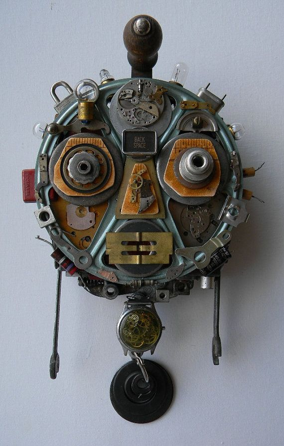 """Recycled Art Assemblage - """"R.O.B.O.T. (Unmasked)"""" - Original Mixed Media"""