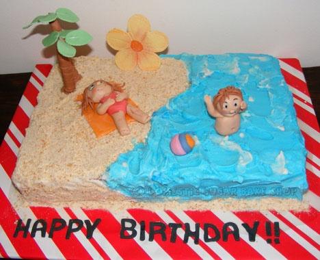 Beach Birthday Cake!