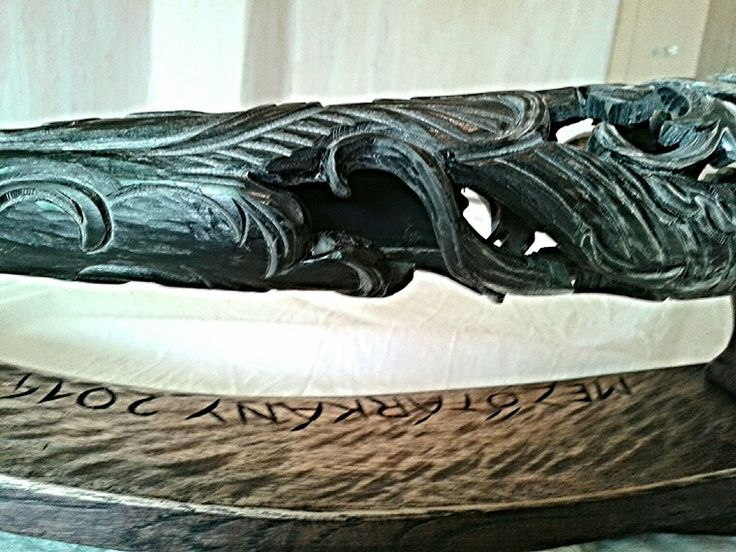 Decorative Hungarian gray cattle horn horns of unique carvings