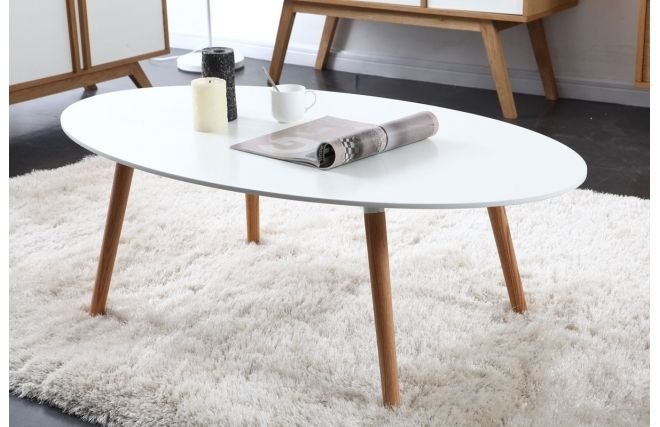 table basse design bois naturel et blanche gilda - Table Ovale Scandinave2543
