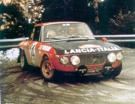 Lancia Fulvia 1.6HF Number 14 driven by Sandro Munari and Mario Manucci to win the 1972 Monte Carlo Rally.