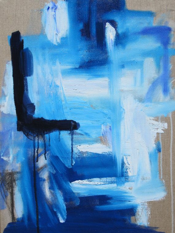 Blue and white abstract on linen by KerrySteelefineart on Etsy, $460.00