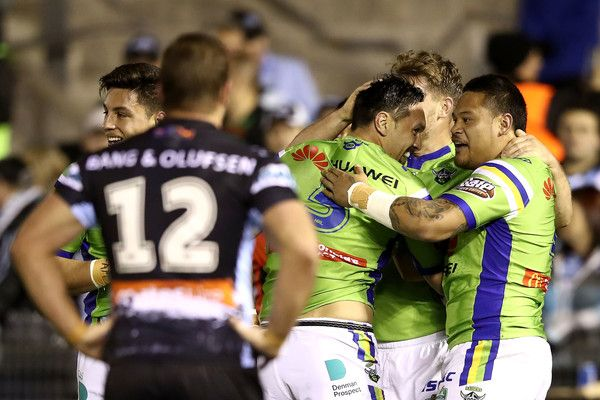 Jordan Rapana of the Raiders celebrates with his team mates after scoring a try during the round 22 NRL match between the Cronulla Sharks and the Canberra Raiders at Southern Cross Group Stadium on August 5, 2017 in Sydney, Australia.