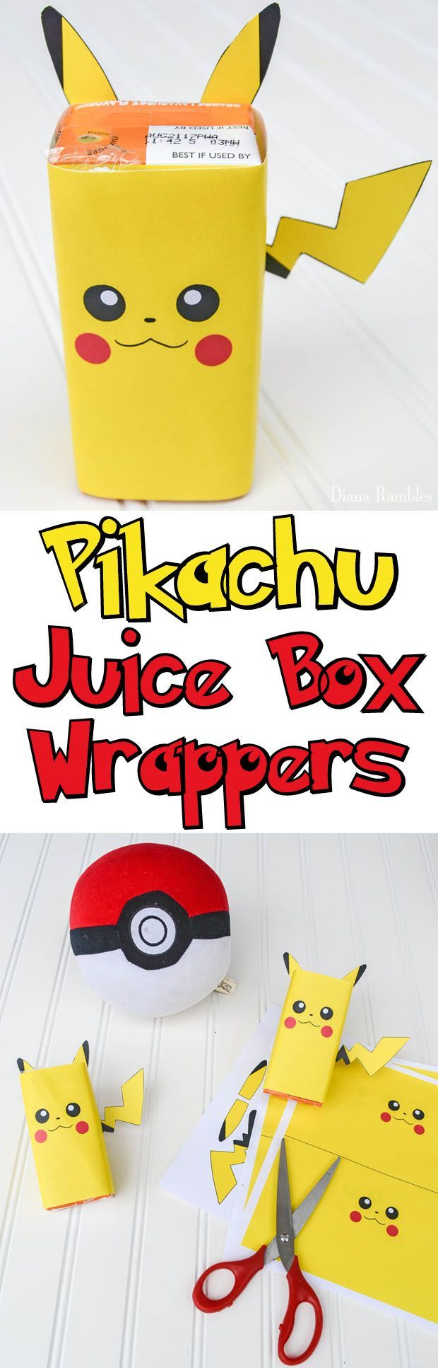 Download these free Pikachu Juice Box Wrappers for the Pokémon lover in your house. These Pokemon covers for juice boxes are perfect for lunch boxes or parties.