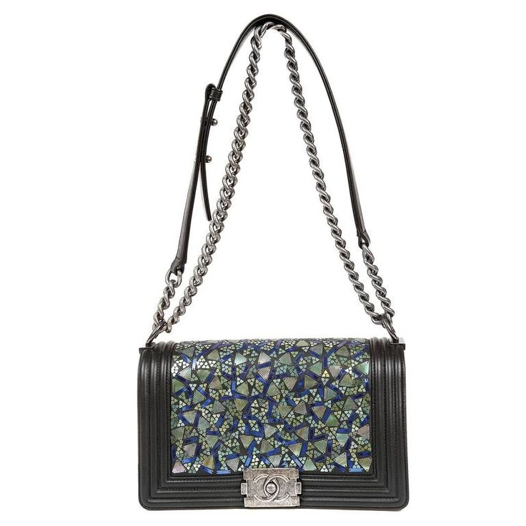 Chanel Black Lambskin and Green Mosaic Leaf Boy Bag | From a collection of rare vintage shoulder bags at https://www.1stdibs.com/fashion/handbags-purses-bags/shoulder-bags/