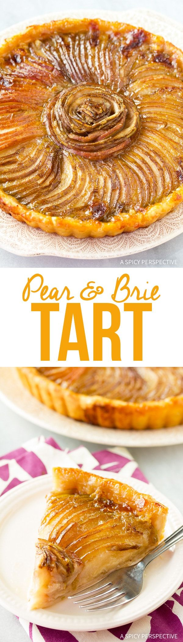 Simple Elegant Pear and Brie Tart Recipe - Make this glorious savory-sweet treat with just a handful of ingredients! Fresh pears and soft brie make all the difference. via @spicyperspectiv