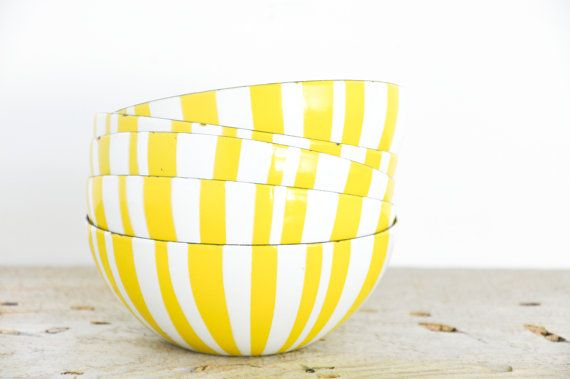 Cathrineholm Bright Yellow Striped Bowls // Set by theweekendshop, $240.00