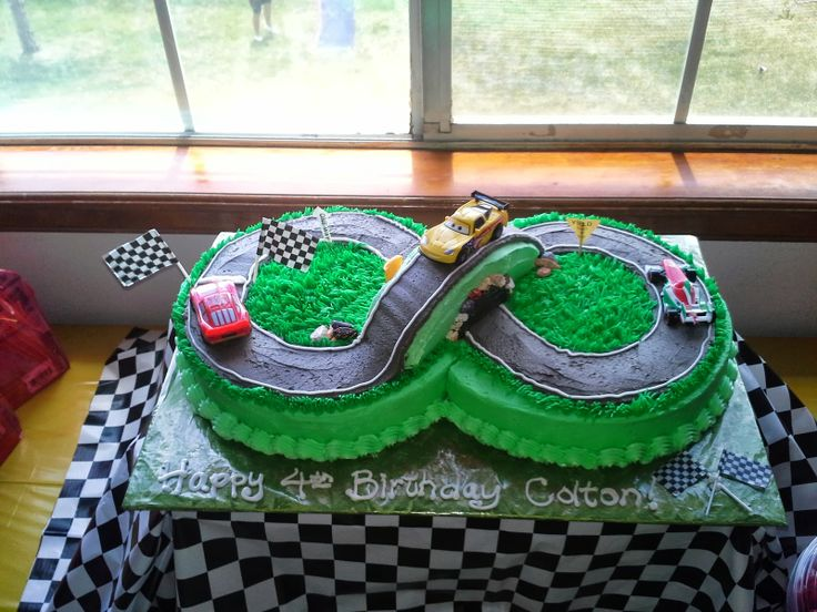 Race car birthday cake