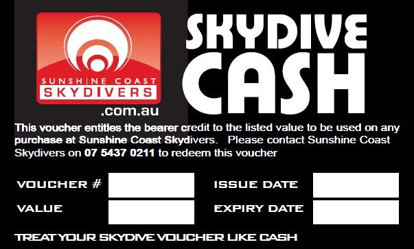 Just decide how much you want to give, call us to order (or book online) www.sunshinecoastskydivers.com.au