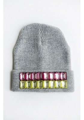 Beaded Pink & Yellow Grey Beanie Hat