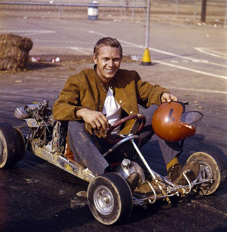 "gashetka: ""1961 | Steve McQueen and Go-Kart | Photo by Larry Barbier | Source """