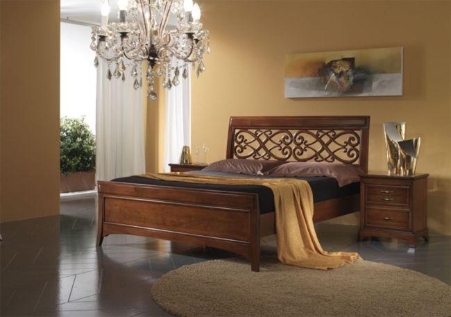Camera da letto completa modello Four Seasons Stilema in noce con armadio scorrevole a due ante specchiato , letto traforato