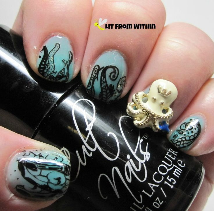 Lit from Within: Pirate Nail Art Challenge - Sea Creatures