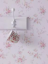 Engelse behang kleine bloemen roze 2