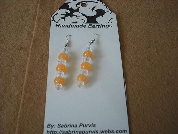 Clear Crystal/OrangeGlowinthe Dark Earring Lot123 by SabbysPlace32,Earrings Lot123, Clear Crystals Orangeglowinth, Crystals Orangeglowinth Dark, Dark Earrings, Jewelry Beads Charms