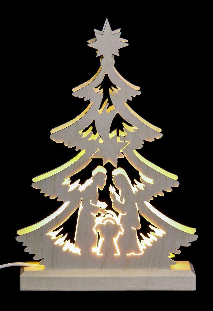 Lichterspitze aus dem Erzgebirge, indirekte Beleuchtung. Handarbeit mit Laubsäuge.
