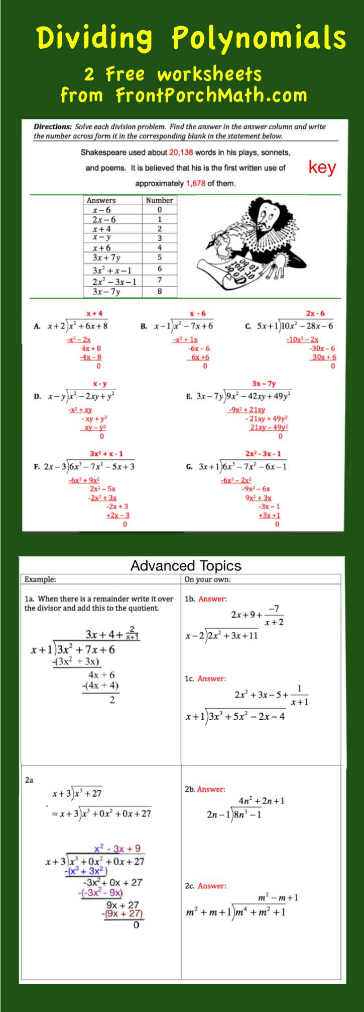 Free Worksheets On How To Divide Polynomials The Advanced Topics Worksheet  Covers Remainders And How